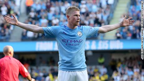Kevin De Bruyne  celebrates as he scores his team's eighth goal against Watford.