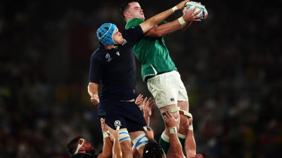 James Ryan of Ireland wins a line out during his side