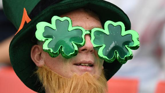 An Ireland supporter looks on prior to his side