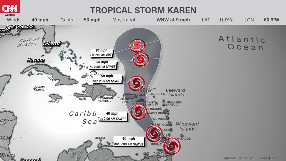 Tropical Storm Karen forms east of the Windward Islands