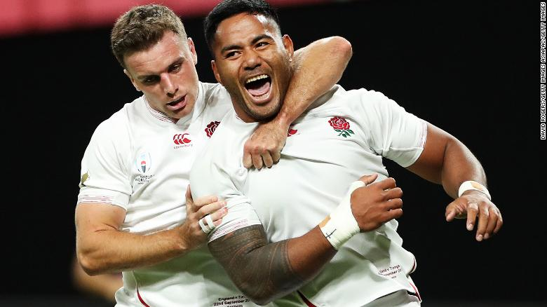 Manu Tuilagi celebrates scoring his side's second try at the 2019 Rugby World Cup.