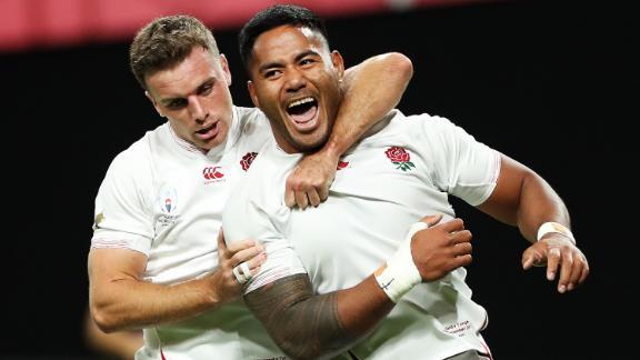 Manu Tuilagi celebrates scoring his side