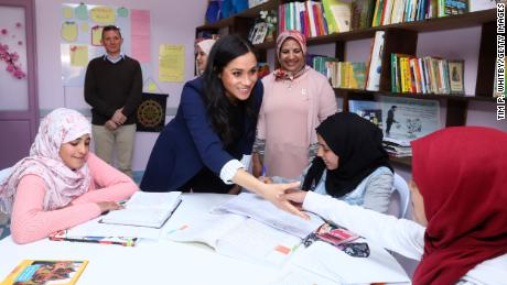 "Meghan, Duchess of Sussex visits the "" Education For All "" boarding house for girls aged 12 to 18, with Prince Harry on February 24 in Asni, Morocco."