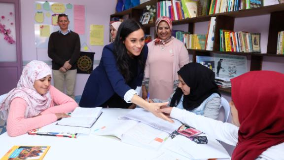 """Meghan, Duchess of Sussex visits the """"Education For All"""" boarding house for girls aged 12 to 18, with Prince Harry on February 24 in Asni, Morocco."""