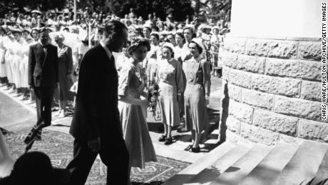 Princess Elizabeth arrives on February 3, 1952 at the Princess Elizabeth Hospital in Nairobi.