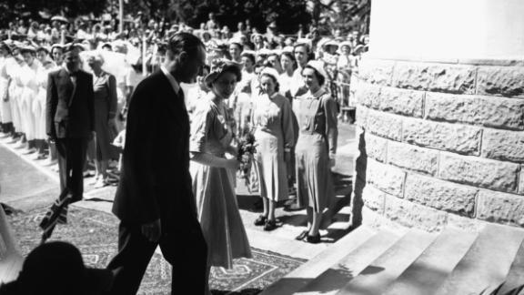 Princess Elizabeth arrives at the Princess Elizabeth Hospital in Nairobi, February 3, 1952.