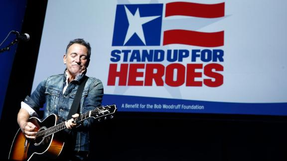 Springsteen performs at a 2018 Stand Up For Heroes event benefiting veterans at Madison Square Garden in  New York City.