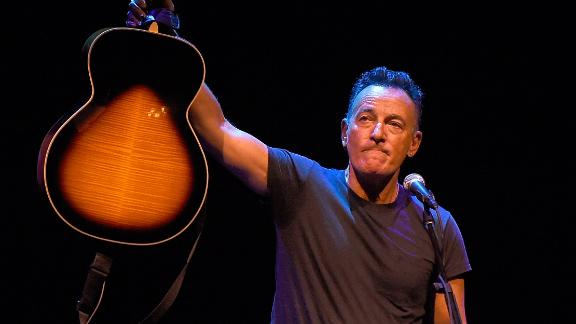 """The rocker performing  """"Springsteen On Broadway"""" on October 12, 2017 in New York City."""