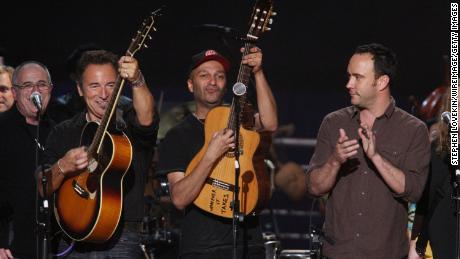 Springsteen, Rage Against the Machine Tom Morello and Dave Matthews (from left) perform at York City's New York City NYC Concert in 2009 for Pete Seeger's 90th birthday.