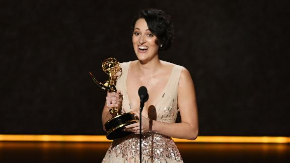 Phoebe Waller-Bridge accepts one of her three Emmys for Amazon's 'Fleabag' at the 71st Emmy Awards  (Photo by Kevin Winter/Getty Images)