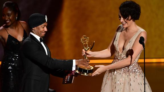 Phoebe Waller-Bridge accepting one of multiple Emmy Awards she won on Sunday. (Photo by Frederic J. BROWN / AFP)