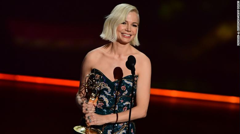 "Michelle Williams accepts the Outstanding Lead Actress in a Limited Series or Movie award for ""Fosse/Verdon"" onstage during the 71st Emmy Awards."