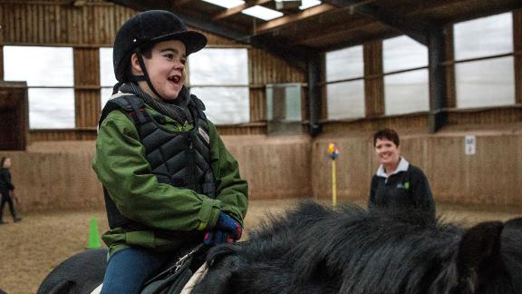 Alfie has a horse riding lesson n January 13, 2019 in Kenilworth, England.