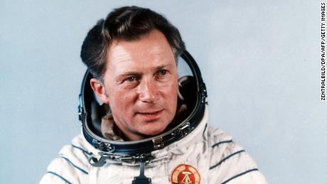 Sigmund Jähn, who has died aged 82,  poses after his successful flight with the Soviet spaceship Soyuz 31 in 1978.