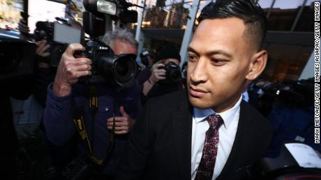Israel Folau departs his conciliation meeting with Rugby Australia in June 2019.