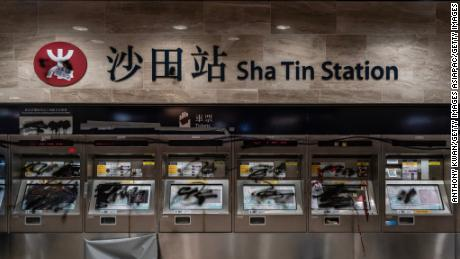 Damaged ticket machines are seen at Sha Tin Station during a demonstration on September 22, 2019 in Hong Kong.