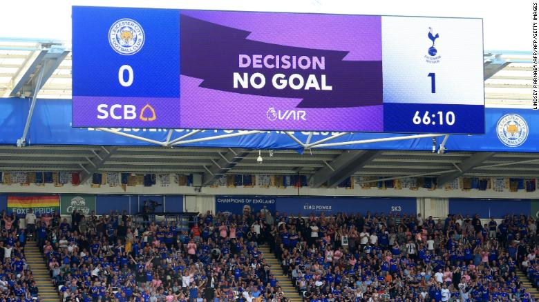 A screen displays the VAR decision to disallow Serge Aurier's goal for Spurs at Leicester.