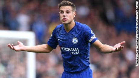 Cesar Azpilicueta of Chelsea gestures after his goal was ruled out by VAR.