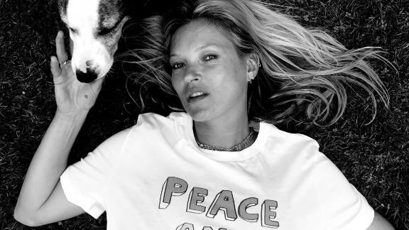 British model Kate Moss wears a Teemill t-shirt