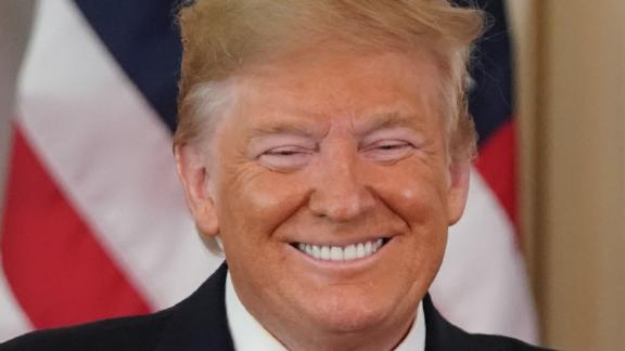 US President Donald Trump smiles during a press conference with Australian Prime Minister Scott Morrison in the East Room of the White House in Washington, DC, on September 20, 2019. (Photo by ALEX EDELMAN / AFP)        (Photo credit should read ALEX EDELMAN/AFP/Getty Images)