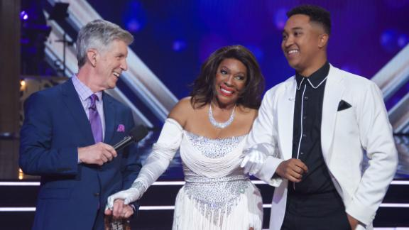 """Dancing With the Stars"" co-host Tom Bergeron Monday night with Mary Wilson and her dance partner Brandon Armstrong."