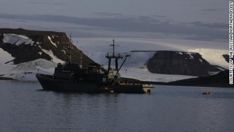 The landing craft had been dispatched from the Russian rescue tug 'Altai', which is on the Northern Fleet's mission in the Arctic Ocean.