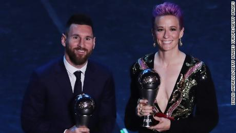 Lionel Messi and Megan Rapinoe with their The Best FIFA awards.