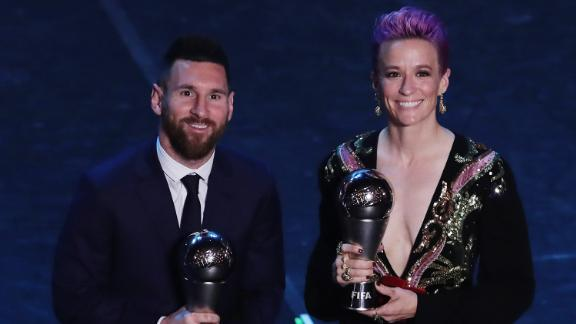 Lionel Messi and pose for  photos at the end of The Best FIFA Football Awards in September.