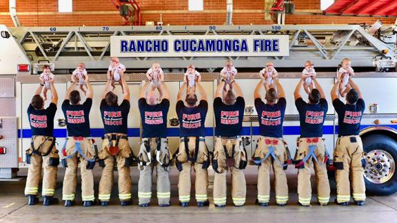 Between March and July, nine babies were born to firefighters in the Rancho Cucamonga Fire District.