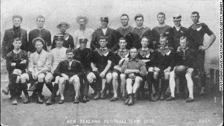 "The New Zealand rugby team before its tour of Britain, September-December 1905. By the end of the tour, the team had, for the first time, become known as the ""All Blacks."""