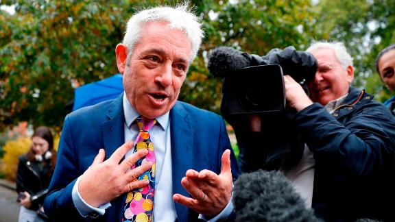 John Bercow, Speaker of the House of Commons, addresses reporters after the Supreme Court ruled that Boris Johnson's decision to prorogue Parliament was unlawful.
