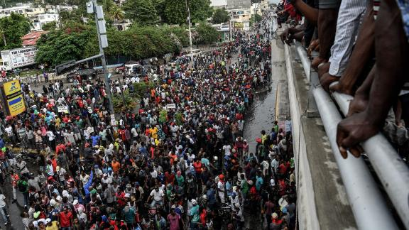 People protesting against fuel shortages in Port-au-Prince, Haiti, on September 20, 2019.