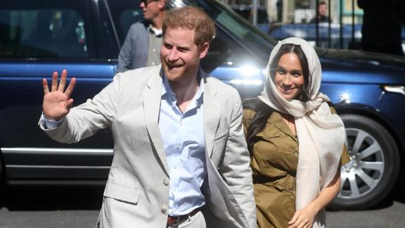 Prince Harry, Duke of Sussex and Meghan, Duchess of Sussex visit Auwal Mosque in Cape Town's Bo-Kaap district during their royal tour of South Africa on September 24, 2019.