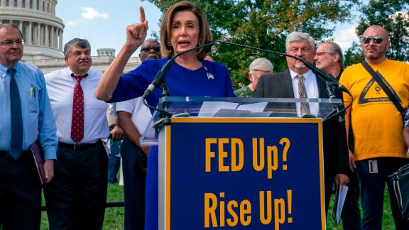 Speaker of the House Nancy Pelosi, D-Calif., joins a rally of organized labor to show support for union workers, at the Capitol in Washington, Tuesday, Sept. 24, 2019. (AP Photo/J. Scott Applewhite)