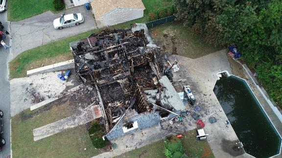 An aerial view of a burned-out home impacted by the fires and gas explosions in Massachusetts' Merrimack Valley on September 13, 2018.