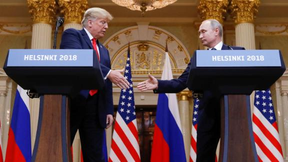 """Trump shakes hands with Russian President Vladimir Putin at the end of <a href=""""https://www.cnn.com/interactive/2018/07/politics/trump-putin-summit-cnnphotos/"""" target=""""_blank"""">their summit</a> in Helsinki, Finland, in July 2018. Afterward, Trump said he believed it had significantly improved relations between the two countries. """"Our relationship has never been worse than it is now. However, that changed as of about four hours ago. I really believe that,"""" Trump said during a joint news conference. The Putin meeting was the last part of Trump's <a href=""""https://www.cnn.com/interactive/2018/07/politics/trump-europe-trip-cnnphotos/"""" target=""""_blank"""">weeklong trip to Europe.</a>"""