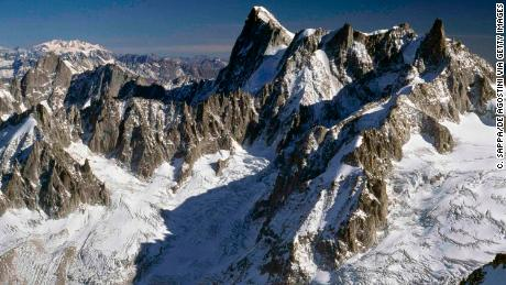 Photo dated 08 August, 2016 shows Grandes Jorasses glacier and Giant's tooth (4014 m), France.