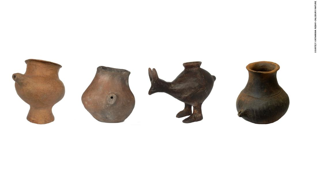These Late Bronze Age feeding vessels were likely used for infants drinking animal milk.