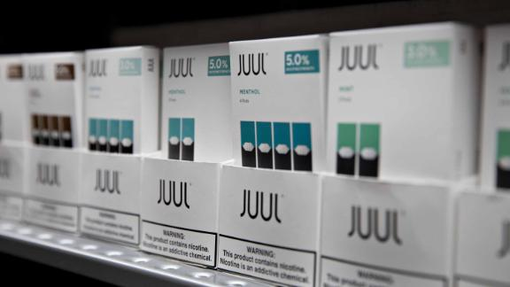 Menthol pods for Juul Labs Inc. e-cigarettes are displayed for sale at a store in Princeton, Illinois, U.S., on Monday, Sept. 16, 2019. Faced with a worsening epidemic of teenage vaping and a mysterious illness stalking users of cigarette alternatives, the Trump administration promised to ratchet up its oversight of a burgeoning but increasingly troubled industry. Photographer: Daniel Acker/Bloomberg via Getty Images