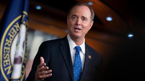 House Intelligence Committee Chairman Adam Schiff talks to reporters about the release by the White House of a transcript of a call between President Donald Trump and Ukrainian President Voldymyr Zelenskiy, in which Trump is said to have pushed for Ukraine to investigate former Vice President Joe Biden and his family, at the Capitol in Washington, Wednesday, September 25.