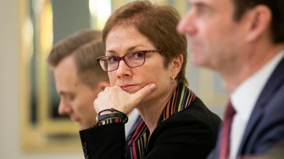 U.S. Ambassador to Ukraine Marie Yovanovitch, center, is pictured in Kiev, Ukraine, March 6, 2019.