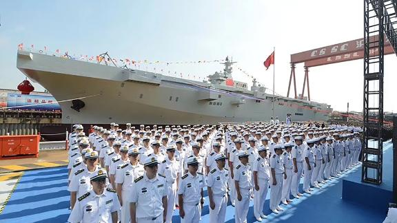 China's first amphibious assault ship was launched in Shanghai on Wednesday, coming closer to the completion of its construction project.