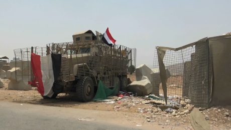 A US-made BAE Caiman MRAP vehicle captured by Yemeni army forces from separatist groups in Shabwah, southern Yemen. Photographed in Sept 2019.