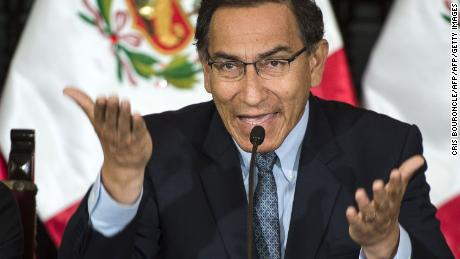 Peruvian President Martin Vizcarra speaks in October 2018.