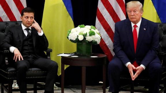 """Ukrainian President Volodymyr Zelensky meets with Trump on the sidelines of the UN General Assembly in September 2019. A day earlier, the White House <a href=""""https://www.cnn.com/2019/09/25/politics/donald-trump-ukraine-transcript/index.html"""" target=""""_blank"""">released a transcript of a conversation</a> that Trump had in July with Zelensky. According to the transcript, Trumprepeatedly pushed for Zelensky to investigate Joe Biden, a former vice president and potential 2020 political rival. There is no evidence of wrongdoing by Biden. House Speaker Nancy Pelosi announced that she would be<a href=""""http://www.cnn.com/2019/10/03/politics/gallery/trump-impeachment-inquiry/index.html"""" target=""""_blank""""> opening a formal impeachment inquiry on Trump. </a>Trump has insisted he did nothing wrong in his phone call with Zelensky, saying there was""""no pressure whatsoever."""" The House <a href=""""https://www.cnn.com/2019/12/18/politics/house-impeachment-vote/index.html"""" target=""""_blank"""">impeached him</a> in December, and the Senate <a href=""""http://www.cnn.com/2020/02/05/politics/senate-impeachment-trial-vote-acquittal/index.html"""" target=""""_blank"""">acquitted him</a> in February."""