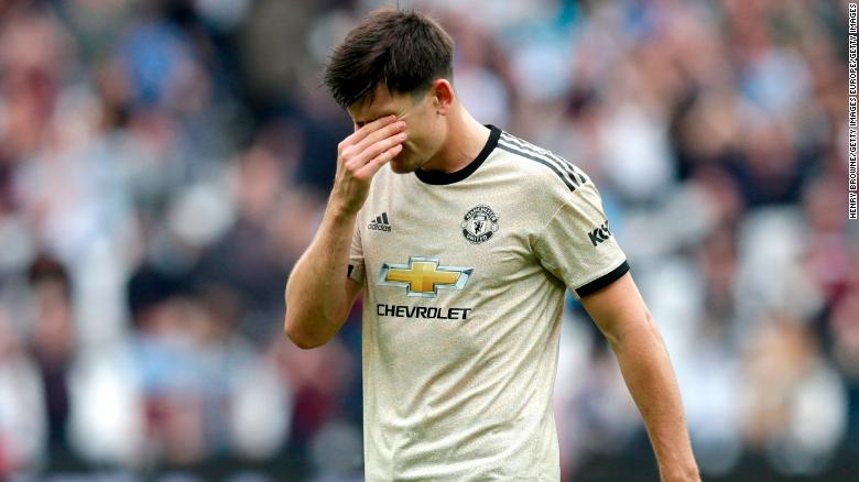 Harry Maguire of Manchester United looks dejected following the defeat at West Ham.