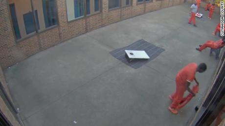 A drone was caught on camera delivering contraband to an Ohio prison yard