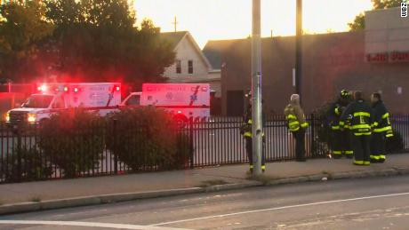 First responders gather Friday morning in the area of a gas leak in Lawrence, Massachusetts.
