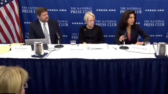 American Immigration Lawyers Association Second Vice President Jeremy McKinney, American Bar Association President Judy Perry Martinez and National Association of Immigration Judges President Ashley Tabaddor speak at the National Press Club.