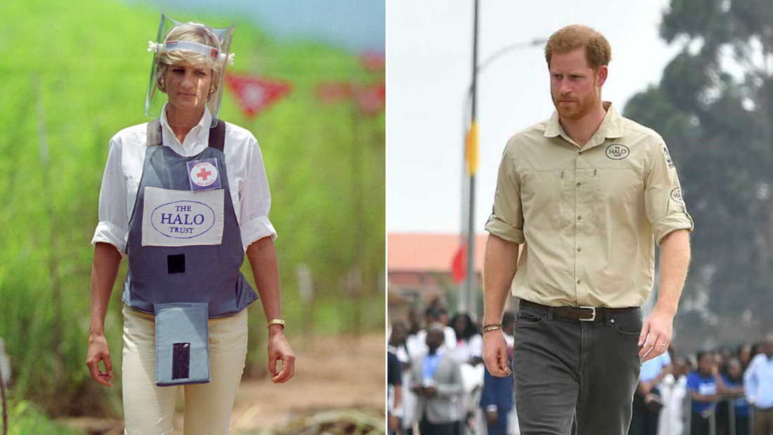 Prince Harry is following in the footsteps of his late mother, Princess Diana, through the site of a former minefield.
